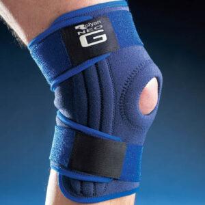 NEO G Knäskydd med öppen knäskål och stödskenor