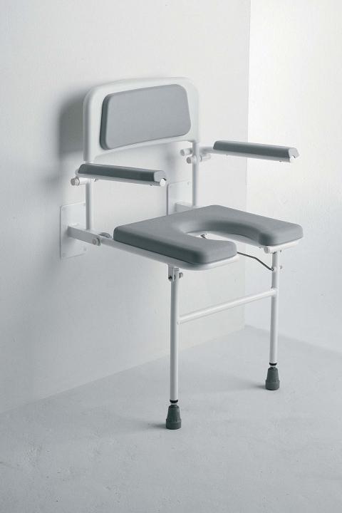 Väggmonterad duschstol med ryggstöd och armstöd
