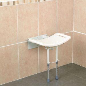 Väggmonterat duschsäte med stödben